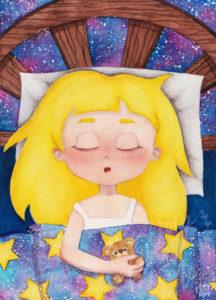 illustration_fille_lit_étoiles