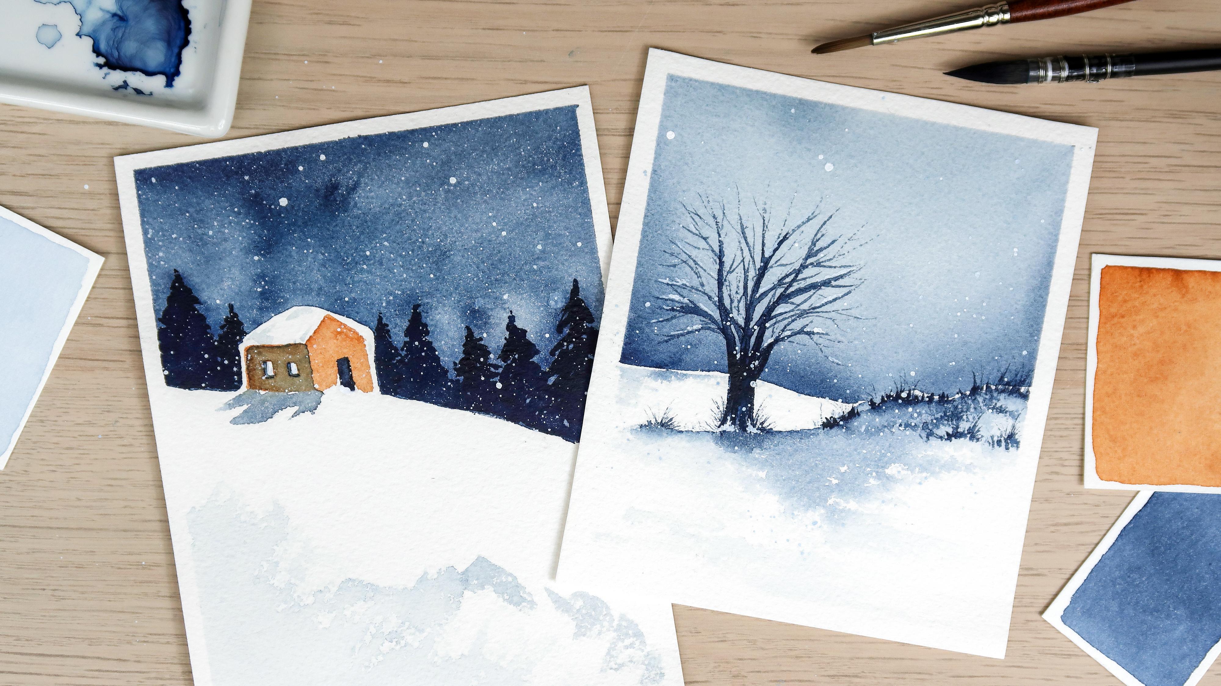 Comment peindre un paysage enneigé à l'aquarelle ?